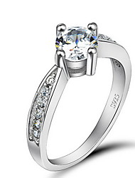 Ring Jewelry Sterling Silver Zircon Cubic Zirconia Simulated Diamond Silver Jewelry Party Daily 1pc