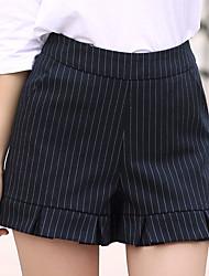 플러스 사이즈 스트레이트 와이드 레그 치노바지 반바지 여성 바지,데이트 캐쥬얼/데일리 단순한 귀여운 줄무늬 주름장식 높은 밑위 지퍼 폴리에스테르 마이크로- 신축성 여름