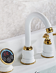 Contemporary Digital display electronic faucet Hydropower Bathroom Sink Faucet No Battery