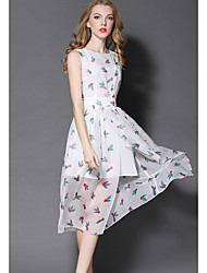 Women's Going out Party/Cocktail Holiday Street chic Sophisticated Sheath Chiffon Swing Dress,Floral Ruffle Pleated Round NeckKnee-length