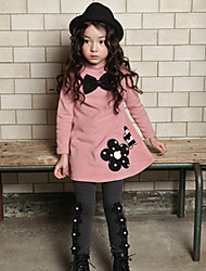 Girl's Cotton Fashion casual/Daily Spring/Autumn Cartoon Print Long Sleeve Bowknot T-shirt And Leggings Pants Two-piece Set