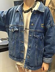 2017 spring new Korean embroidery embroidered back handsome wild loose denim jacket women