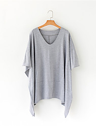 March 5 shipping Model real shot in Europe and America Street beat irregular V-neck T-shirt loose big yards