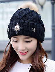 Fashion Warm Winter Women 'S Wool Hat Diamond Stars Plus Cashmere Single - Cap Outdoor Knit Hat