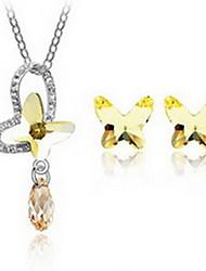 Kristall Aleación Schwarz Purpur Gelb 1 Halskette 1 Paar Ohrringe Für Party 1 Set Hochzeitsgeschenke