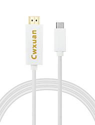 cwxuan® usb 3.1 Type usb-c c à hdmi câble adaptateur pour le nouveau macbook chromebook lumia 950 xl etc
