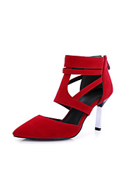 Women's Heels Spring Summer Fall Other PU Party & Evening Casual Stiletto Heel Zipper Black Red Almond