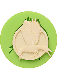 Open Wings Wild Goose Shape Clay Silicone Mould for Cake Decoration Color Random