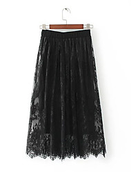 Women's A Line Solid Lace Skirts,Going out Casual/Daily Beach Sexy Simple Mid Rise Midi Elasticity Polyester Inelastic Spring