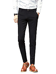 Men's Plus Size Straight Slim Chinos Business Pants,Casual/Daily Work Street chic Solid Low Rise Zipper Button Cotton Micro-elasticSpring