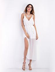 Feminino Chifon Vestido, Casual Festa/Coquetel Bandagem Sensual Sofisticado Sólido Decote em V Profundo Longo Sem Manga Branco Preto