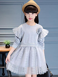 Girl's Solid Dress,Silk Fall Long Sleeve