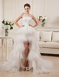 A-line Wedding Dress Asymmetrical One Shoulder Satin Tulle with Beading Tiered