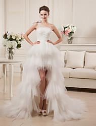 Corte en A Un Hombro Asimétrica Satén Tul Vestido de novia con Cuentas A Capas por MDHS