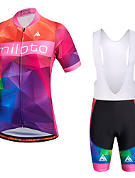 Miloto Cycling Jersey with Bib Shorts Women's Short Sleeve Bike Bib Shorts Shirt Sweatshirt Jersey Bib Tights Shorts TopsQuick Dry