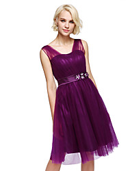 Knee-length Straps Bridesmaid Dress - Short Sleeveless Tulle