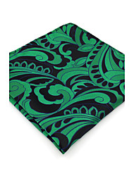 BH23 Men's Handkerchief Green Paisley 100% Silk Business Casual Jacquard New For Men