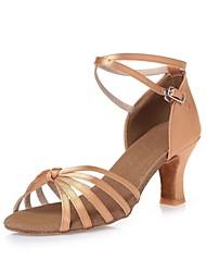 Women's Dance Shoes Satin Satin Latin Heels Chunky Heel Indoor Nude CL04