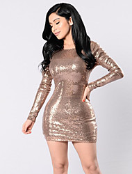 Women's Party Club Sexy Slim Street chic Bodycon DressSolid Backless Sequins Round Neck Mini Long Sleeve