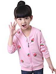 Girl's Fashion Cotton Spring/Fall Casual/Daily/Going out Cartoon Strawberry Print Long Sleeve Baseball Coat Children Jacket