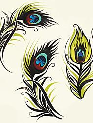 1pc de halloween couleur de pâte de tatouage tatouage autocollants une version plus grande plume imperméable à l'eau