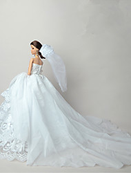 Wedding Dresses For Barbie Doll White Lace Dresses For Girl's Doll Toy