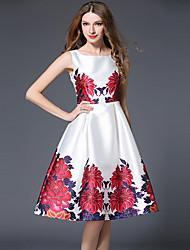 Gaine Robe Femme Sortie Grandes Tailles simple,Imprimé Col Arrondi Midi Manches Longues Blanc Polyester Printemps Eté Taille NormaleNon