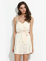 Women's Going out Simple / Street chic Loose DressSolid V Neck Mini Sleeveless Polyester Summer / Fall Mid Rise