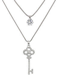 Pendant Necklaces Sweater Chain Jewelry Party Key Double-layer Alloy Rhinestone Women 1pc Gift Silver