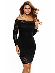Women's Casual/Daily Formal Simple Sheath Dress,Solid Print Off Shoulder Mini Above Knee Long Sleeve Polyester Black All Seasons Low Rise