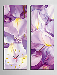 E-HOME® Light Purple Flowers Clock in Canvas 2pcs