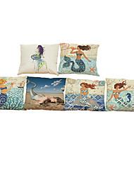Set of 6 Mermaid pattern Linen Pillowcase Sofa Home Decor Cushion Cover