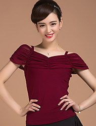 Ballroom Dance Tops Women's Training Elastic Woven Satin Pleated 1 Piece Short Sleeve Natural Top