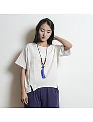 Signe 2017 printemps nouveau femmes de grande taille sen lâche coton couleur unie t-shirt à manches courtes littéraire femme #