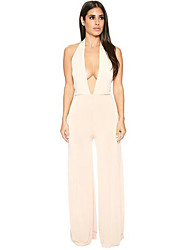 Women's Wide Leg|Backless Sexy Halter Neck Hollow Out Backless Jumpsuits Sleeveless Long Pants Overall