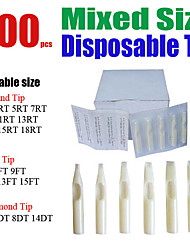 Solong Tattoos 500 x Disposable Tattoo Tips White Color Assorted Mixed Size TP402-500
