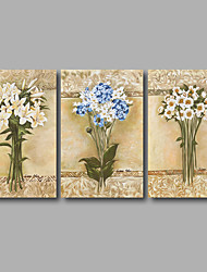 Stretched Canvas Print Three Panels Canvas Wall Decor Home Decoration Abstract Modern Flowers Beige Blue