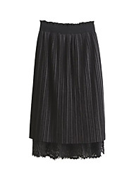 Women's Pencil Solid Lace Pleated Skirts,Going out Casual/Daily Beach Sexy Vintage Simple Mid Rise Midi Elasticity Cotton Polyester