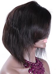 130% Density Short Human Hair Bob Wigs Malaysian Human Hair Lace Front Wig With Bangs 10Inch Left Parting Natural Color Custom