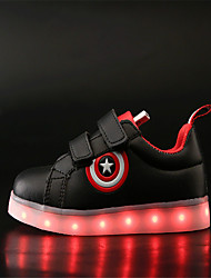 Boy's Sneakers Spring Summer Fall Winter Comfort Leather Outdoor Casual Athletic Flat Heel Buckle LED Black White Other