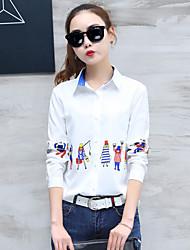 Feminino Camisa Social Casual Formal Trabalho Simples Sofisticado Primavera Outono,Sólido Estampado Branco Algodão Raiom Poliéster