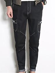 Herren Übergrössen Gerade Jeans Hose-Lässig/Alltäglich Einfach Buchstabe Mittlere Hüfthöhe Reisverschluss Baumwolle Micro-elastischAll
