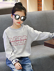 Girl's Cotton Fashion Going out Casual/Daily Holiday Check Patchwork Tee Spring/Fall Children Long Sleeve Cartoon Print Shirt Blouse