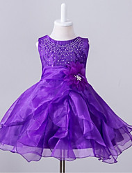 Ball Gown Knee-length Flower Girl Dress - Organza Jewel with Beading Flower(s)
