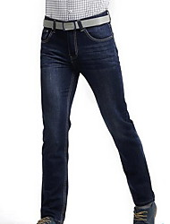 Men's Mid Rise Inelastic Jeans Pants,Simple Straight Solid