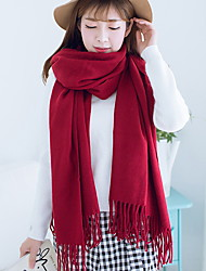 Women Autumn And Winter Pure Red Tassels Scarves Warm Cashmere Scarf