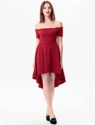 Women's Sexy Solid Slash Neck Middle Dress Swallow Tailed Zipper Dress