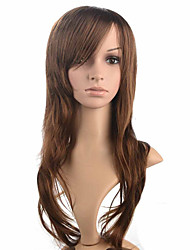 perruque femmes longtemps joli mode femmes perruque de style brun vague naturelle fibre synthétique coiffure perruque avec une frange