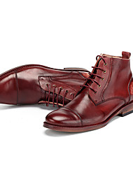 Men's Boots Fall Winter Leather Casual Low Heel Lace-up Burgundy
