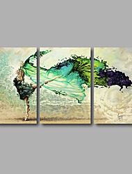 Stretched Canvas Print Three Panels Canvas Wall Decor Home Decoration Abstract Modern Dancer Green Beige